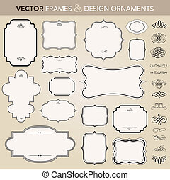 vector, ornate kader, en, ornament, set
