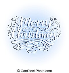 Vector ornate Merry Christmas lettering background.New Year or Nativity pattern typography.Happy Holidays greeting card.