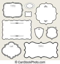 Vector Ornate Rounded Frame Set. Easy to edit. Perfect for...