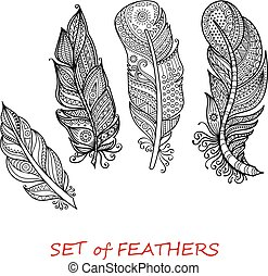 Vector Ornate Set of Stylized and Abstract Zentangle...