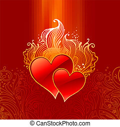 Vector ornate Valentines illustration with hearts