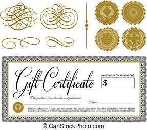 Vector Ornate Vintage Certificate and Ornaments. All pieces...