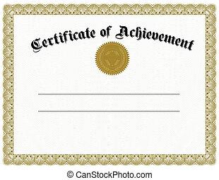 vector, oro, certificado, y, sello