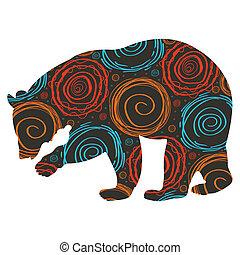 vector, oso, colorido, plano de fondo
