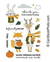vector, otoño, animales, amigos, colección