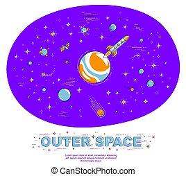 vector, otro, impresionante, delgado, raro, planetas, desconocido, 3d, universo, ciencia, fantástico, cohetes, fiction., elements., galaxia, undiscovered, ilustración, explorar, isolated., línea, estrellas