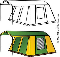 vector, oud, familie kampeerterrein, tentje