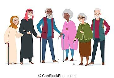 vector, oud, kaukasiërs, mensen., bejaarden, moslims, illustratie, internationaal, afroamericans, vrolijke