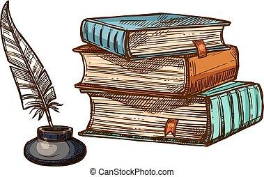 vector, oud, pen, boekjes , inkt, veer, slagpen