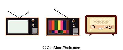 vector, oud, radio's, illustratie