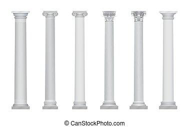 vector, oud, realistisch, zuil, set., hoofdsteden, griekse , rome