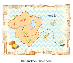 vector, oud, schat, map., papier, achtergrond