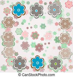 vector, ouderwetse , bloemen, achtergrond
