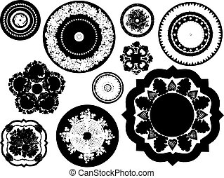 vector, ouderwetse , elemen, vastgesteld ontwerp