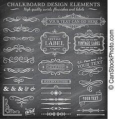 vector, ouderwetse , etiketten, chalkboard
