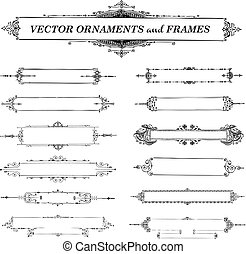vector, ouderwetse , frame, en, ornament, set