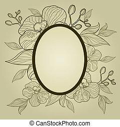 vector, ouderwetse , frame, met, bloemen, -