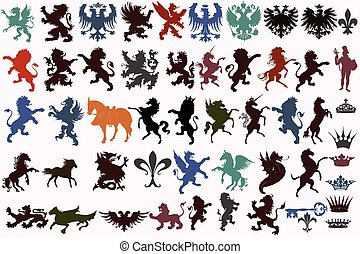 vector, ouderwetse , heraldisch, set, elem
