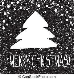 vector, ouderwetse , illustratie, boom., kerstmis kaart