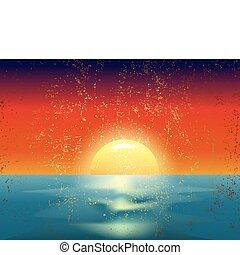 vector, ouderwetse , illustratie, van, de, ondergaande zon , op, zee
