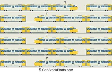 vector, ouderwetse , moderne, verzameling, treinen