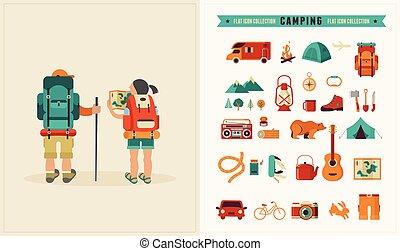 vector, ouderwetse , poster, met, paar, van, backpackers, en, set, van, iconen