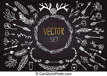 vector, ouderwetse , set, floral, elements.