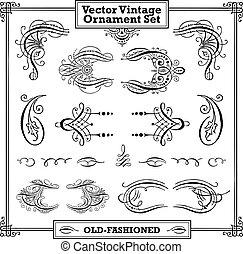 vector, ouderwetse , set, ornament