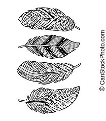 Vector outline abstract boho feathers on a white background