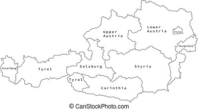 Vector outline administrative division map of Austria.