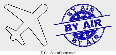 Vector Outline Airplane Icon and Scratched By Air Stamp Seal