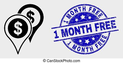 Vector Outline Bank Map Markers Icon and Scratched 1 Month Free Stamp Seal