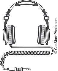 vector Outline Big dj Headphones with coiled cord and jack...
