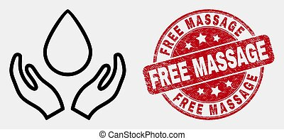 Vector Outline Blood Care Hands Icon and Scratched Free Massage Stamp Seal