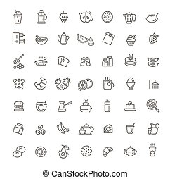 Vector outline breakfast flat icons