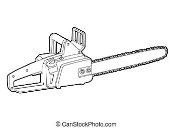chainsaw - vector outline chainsaw on white background