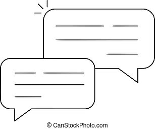 Vector Outline Chat Icon isolated on white background. Line logo dialogue pictogram. Speech bubble symbol for your web site design, logo, app, UI. Editable stroke illustration