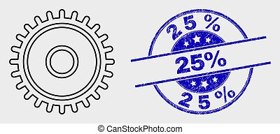 Vector Outline Cog Icon and Distress 25% Stamp - Vector ...