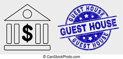 Vector Outline Dollar Bank Icon and Grunge Guest House Seal...