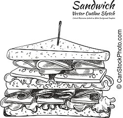 Vector Outline Drawing, a Sandwich with a Toothpick Isolated on White Background, Illustration.