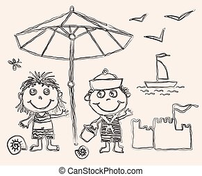 Vector outline drawing of cheerful kids on  beach vacation