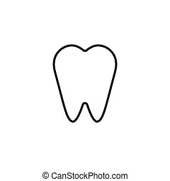 Vector outline flat tooth icon isolated on white