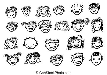 Vector Outline Hand Draw Sketch Children with Happy Face