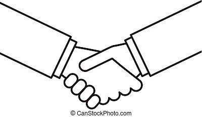 Vector outline handshake illustration. Business concept. Partner