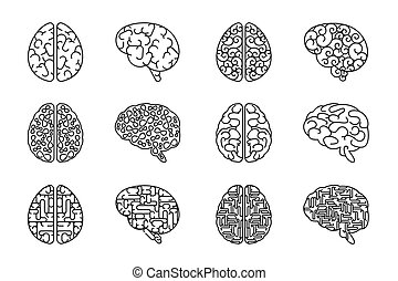 Vector outline human brain icons