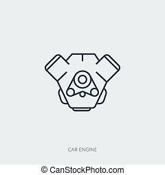 Vector outline icon of car part - car engine
