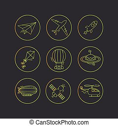 Vector outline icon set of aircraft.
