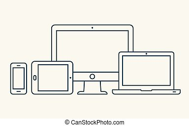 Vector outline icons. Monitor, laptop, tablet pc and smartphone