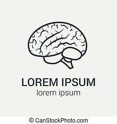 Vector outline illustration of human brain on gray background. Single logo with graphic illustration of human brain.
