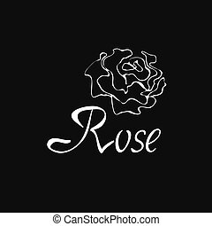 Vector outline logo with rose